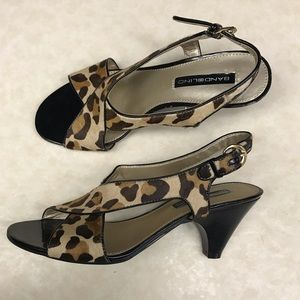 Bandolino leopard print sandal heels